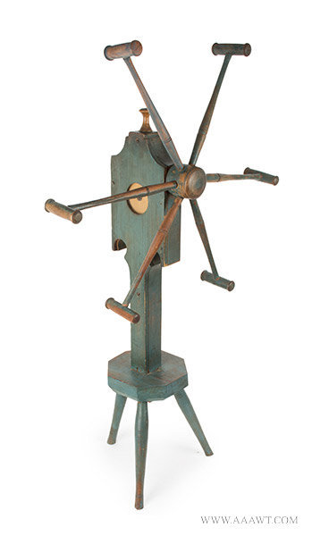 Yarn Winder; Clock Reel, Best Original Blue Paint, Inked Paper Dial, Pewter Hand New England Spinner's Weasel, Circa 1820ish, angle view 2