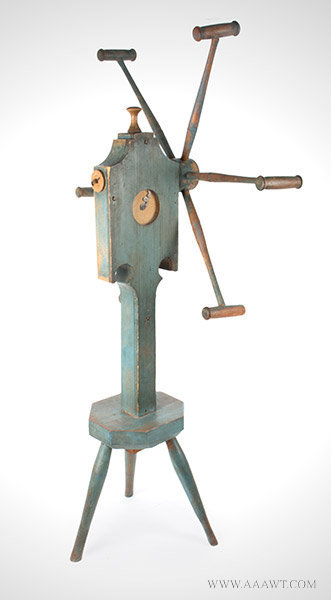 Yarn Winder; Clock Reel, Best Original Blue Paint, Inked Paper Dial, Pewter Hand New England Spinner's Weasel, Circa 1820ish, angle view 3
