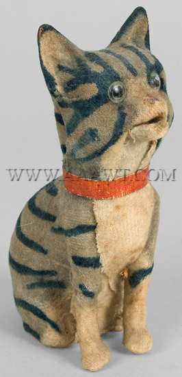 Antique Squeak Toy, Meowing Cat, angle view